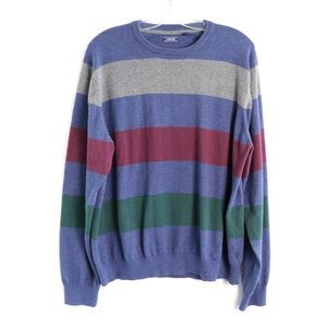 IZOD men's striped knit cotton blend soft XXL crew